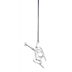 Ozdoba choinkowa Elf na nartach, 7 cm, posrebrzana