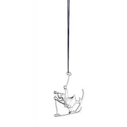 Ozdoba choinkowa Elfka na nartach, 7 cm, posrebrzana