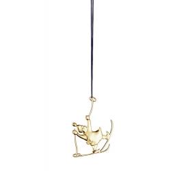 Ozdoba choinkowa Elfka na nartach, 7 cm, pozłacana