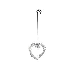 Ozdoba choinkowa serce z listkami, 6 cm, posrebrzana