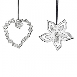 Ozdoby choinkowe serce z kwiatkami oraz aniołek, 6 cm, posrebrzane
