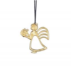 Ozdoba choinkowa anioł z prezentem, 6 cm, pozłacana