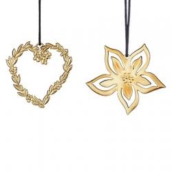Ozdoby choinkowe serce z listkami oraz aniołek, 6 cm, pozłacane