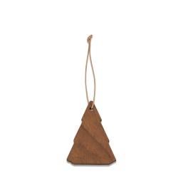 Choinka, jesion+skórzany sznurek, 7cm (3 szt.)