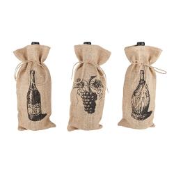 Jutowa torba na wino z grafiką Twine