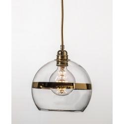 Lampa wisząca Rowan - przeźroczysta ze złotym paskiem, Ø22cm