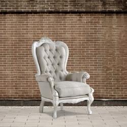 Fotel pikowany ecru DB001342