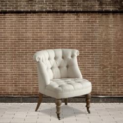 Fotel pikowany na kółkach - len DB002578