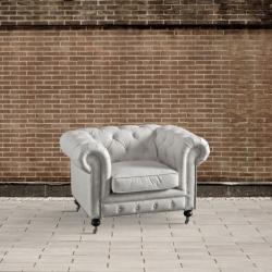 Fotel na kółkach Chesterfield beżowy DB003544