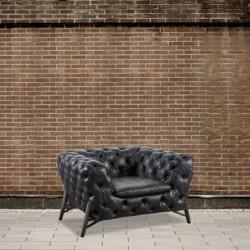 Fotel pikowany - czarna skóra DB004015