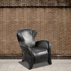 Fotel czarna skóra DB004017