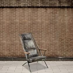 Fotel z drewnianymi podłokietnikami DB004028