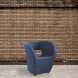 Fotel eko - skóra, niebieski DB004248