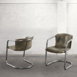 Krzesło z podłokietnikami - postarzana skóra DB003898