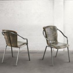 Krzesło z podłokietnikami - postarzana skóra DB003900