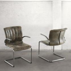 Krzesło z podłokietnikami - postarzana skóra DB003901