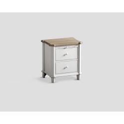 Stolik nocny - biały z dębowym blatem DB001705