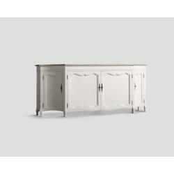 Czterodrzwiowy kredens - biały, dębowy blat, DB001650