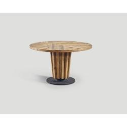 Stół z drewna z recyklingu - blat w jodełkę DB004132