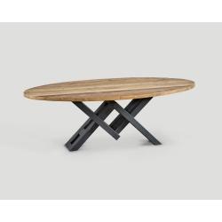 Stół owalny z drewna z recyklingu DB004127