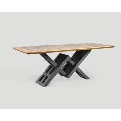 Stół prostokątny z drewna z recyklingu - blat z mozaiką DB004126