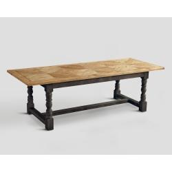 Stół prostokątny z drewna z recyklingu - blat z mozaiką DB002873