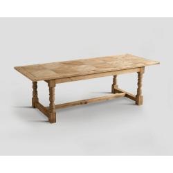 Stół prostokątny z drewna z recyklingu - blat z mozaiką DB002354