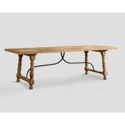 Stół prostokątny z drewna z recyklingu - blat z mozaiką DB002357