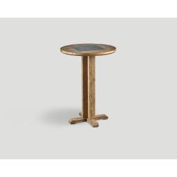 Stół barowy z drewna z recyklingu - okrągły blat z marmurową wstawką DB004218