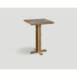 Stół barowy z drewna z recyklingu - kwadratowy blat z marmurową wstawką DB004216
