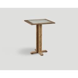 Stół barowy z drewna z recyklingu -  kwadratowy blat z betonową wstawką DB004215
