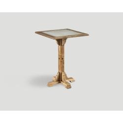 Stół barowy z drewna z recyklingu -  kwadratowy blat z betonową wstawką DB004214
