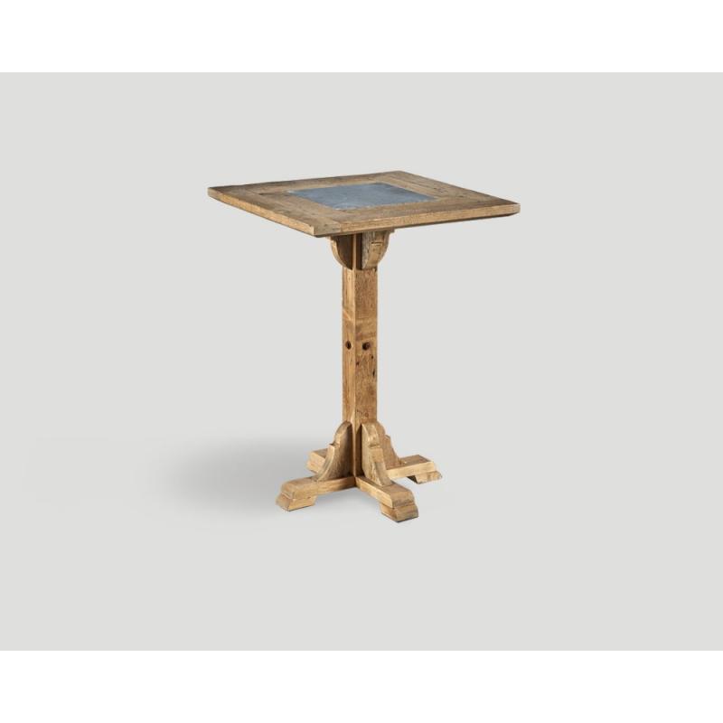 Stół barowy z drewna z recyklingu -  kwadratowy blat z marmurową wstawką DB004213