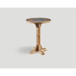 Stół barowy z drewna z recyklingu - okrągły blat z marmurową wstawką DB004211