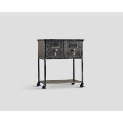 Stolik okazjonalny na kółkach z dwoma szufladami - metalowy DB002418