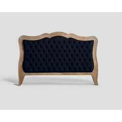 Zagłówek King Size, pikowany z dębową ramą - czarny DB003007