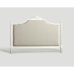 Zagłówek King Size, lniany z dębową ramą - biały DB003005