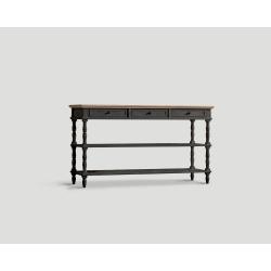 Konsola z drewna z trzema szufladami - czarna DB002846