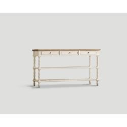 Konsola z drewna z trzema szufladami - biała DB001723