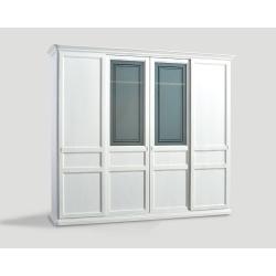 Czterodrzwowa szafa z przesuwnymi drzwiami - biała DB004653