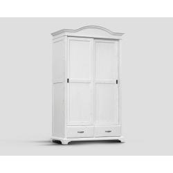 Dwudrzwowa szafa z przesuwnymi drzwiami i dwoma szufladami - biała DB002683