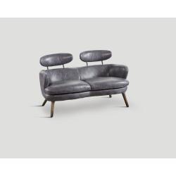 Sofa dwuosobowa - skórzana, szara rtęć DB003972