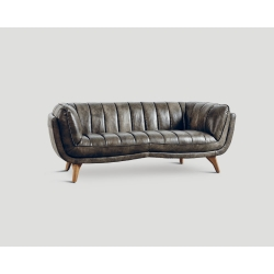 Sofa trzyosobowa - skórzana, szary olej DB003971