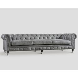 Sofa czteroosobowa - skórzana, szary vintage DB003548
