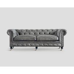 Sofa trzyosobowa - skórzana, szary vintage DB003547