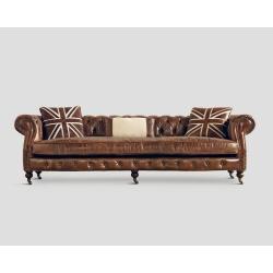 Sofa czteroosobowa - skórzana, cygaro vintage DB002313