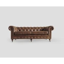 Sofa trzyosobowa - skórzana, cygaro vintage DB001717