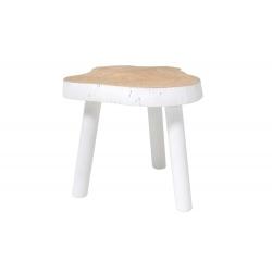 Stolik w kształcie pnia drewna biały