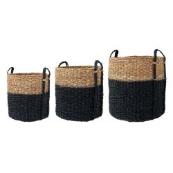 Zestaw rattanowych koszy na pranie, czarne