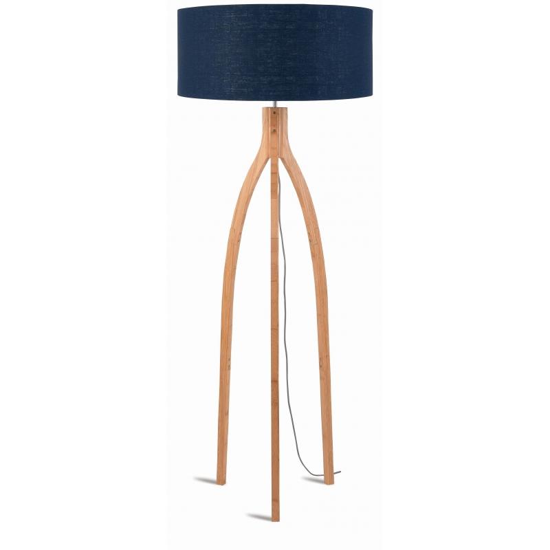 Lampa podłogowa ANNAPURNA bambus 3-nożna 128cm/abażur 60x30cm, lniany blue denim